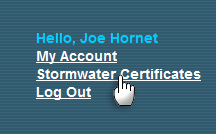 Stomwater Certificates link